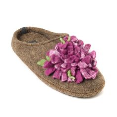 6e3252d0e7 100% Premium Wool slippers with arch support insole - with rubber soles -  Handmade- Purple Flower- w