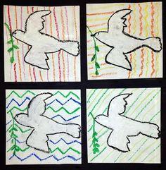 3rd Grade - Pop Art Doves - Line - Oil pastels on Sulfite