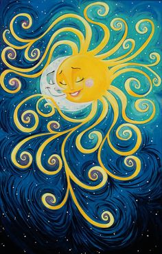 Night meets Day...I'm going to make this into a tattoo with two stars. In our house we say I love you to the moon and back and my son is my sun and my daughter is my star, my husband would be the moon in this pic. YES  this will be my next tat.