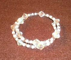 Memory Wire Bracelet - $5.00 (1available) White and Clear Beads