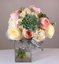 garden rose, succulent, dusty miller, etc. bride bouquet for the Hyatt Lodge Wedding Show 2014