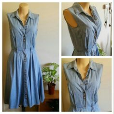 """The cutest Chambray Denim Dress of All Time! Adorable collared button up vintage dress, I love this one! I just don't wear it enough. Hits just below the knee on me (I'm 5'7"""") & has a lovely full skirt (perfect for twirling!) Also has POCKETS! The tag says 3/4, please see to measurements. I can do less on Etsy!  Made in USA 100% cotton 43"""" long  13.5"""" waist (it pops a bit on me, but if you wear a wide belt it hides the strain on the buttons haha) 17.5"""" bust 7"""" arm holes 45"""" across bottom hem…"""