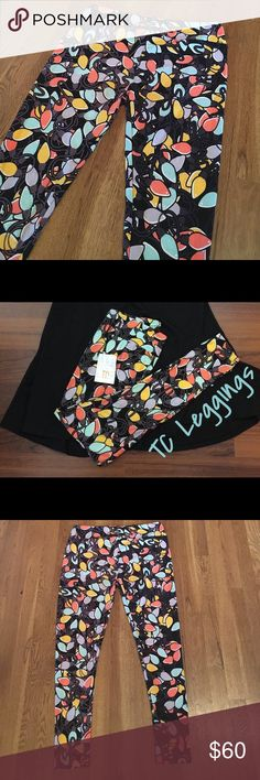 LulaRoe TC Holiday Leggings - Pale light bulbs LulaRoe Holiday Leggings - TC - black background with peach, aqua, lavender and goldenrod colored string lights. So cute! LuLaRoe Pants Leggings