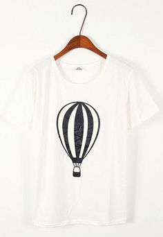 Image of [ghyxh36252]Short Sleeve Hydrogen Balloon Graphic T Shirt Top