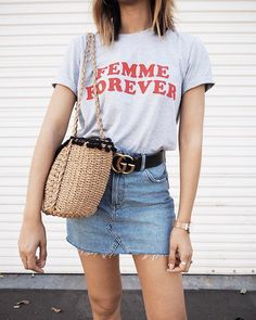Femme Forever T-shirt Cool Feminist Vintage Tee Stylish Summer Outfits, Outfits For Teens, Trendy Outfits, Girly Outfits, Skirt Outfits, Denim Fashion, Fashion Outfits, Fashion Tips, Fashion Trends
