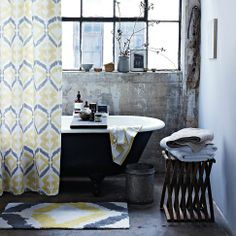 Bathroom inspiration::Tali Printed Shower Curtain  ||  west elm