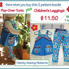 EASY PATTERNS; Knit fabric patterns. PRINT SHOP files included.  http://www.felicitysewingpatterns.com/product/2-pattern-bundle-pop-over-tunic-and-childrens-leggings-patterns-special-bundle-price