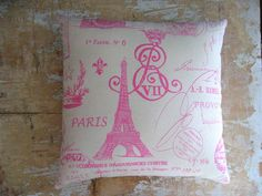 Paris Pillow Pink Eiffel Tower French Country by parismarketplace