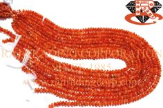 Carnelian Smooth Roundel (Quality BC) Shape: Roundel Smooth Length: 36 cm Weight Approx: 10 to 12 Grms. Size Approx: 4.50 to 5.50 mm Price $3.00 Each Strand