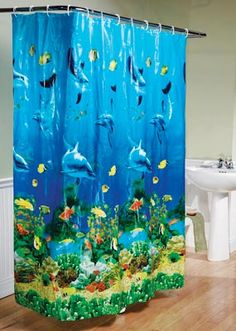 Cartoon Sealife Dolphin And Fishes Coral Bathroom Fabric Shower Curtain Set 71In