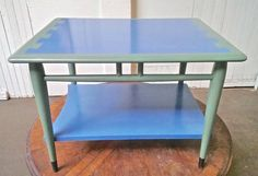 Vintage Lane acclaim dove tail end table, Painted green and blue, Eames side table, Ray, Charles, Mid century Modern, Pastel colors, Amazing