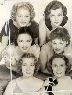 Grace Bradley, Ann Sheridan, Katherine DeMille, Wendy Barrie, Gertrude Michael and Gail Patrick. Golden Age Of Hollywood, Vintage Hollywood, Hollywood Glamour, Hollywood Stars, Classic Hollywood, Vintage Versace, Vintage Vogue, Vintage Glamour, 1930s Makeup