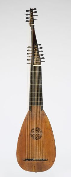 Lute  Maker: Pietro Railich (German, Füssen 1615–ca. 1678 Padua)  Date: 1669  Geography: Padua, Italy  Culture: Italian  Medium: Spruce, snakewood, ebony  Dimensions: Height: 46 9/16 in. (118.2 cm)  Classification: Chordophone-Lute-plucked-fretted