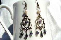 Victorian style amethyst purple pearl green suffragette earrings. $13.00, via Etsy.