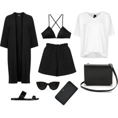 Noir by grace-mxo on Polyvore featuring Boutique, Topshop, Patagonia, Alexander Wang and Quay