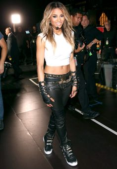 Supermodel Catwalk Style vs. Sidewalk Style: Which Look Is Best?:  Ciara, shunning stilettos for comfy high tops instead.
