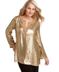 MICHAEL Michael Kors Plus Size Top, Sequined Tunic