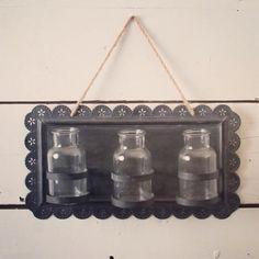 Hanging Tin Frame with Jars