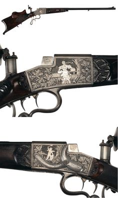 A silver inlaid German schuetzen target rifle by Emil Nordheim, late 19th century.