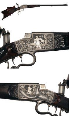 A silver inlaid German schuetzen target rifle by Emil Nordheim, late 19th century.