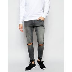 ASOS Extreme Super Skinny Jeans With Knee Rips (1,375 DOP) ❤ liked on Polyvore featuring men's fashion, men's clothing, men's jeans, midgrey, mens distressed jeans, mens skinny fit jeans, mens ripped skinny jeans, mens grey jeans and mens destroyed jeans