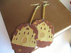 Ephemeral Earrings: Fairytale Golden Castle and by TheRaisinFairy