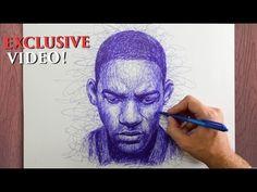 Уилл Смит - портрет шариковой ручкой БЕЗ ОТРЫВА руки! - YouTube