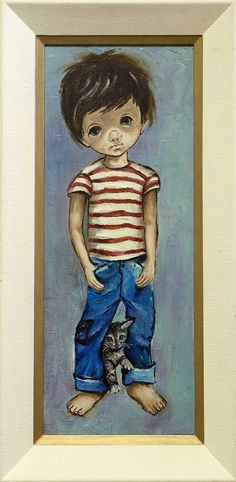 Mid Century Big Eye Kid Original Painting Boy