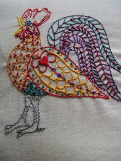 rooster embroidery; I really love this, and I'm not sure why.