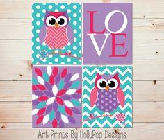 Owl Nursery Decor-Nursery Quad-Baby Girl Nursery-Floral Burst LOVE Typography Print-Woodland Owls-Set of 4 Prints-Purple Pink Turquoise-0674 on Etsy, $43.72 AUD