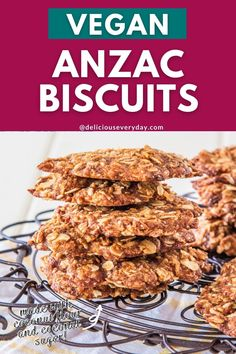 This lighter version of traditional Anzac biscuits is made with coconut flour and coconut sugar. They're every bit as delicious as the originals, and they're 100% vegan too! Healthy Vegan Desserts, Vegan Dessert Recipes, Edible Christmas Gifts, Christmas Baking, Coconut Sugar, Coconut Flour, Anzac Biscuits, Sugar Free Vegan, Easy Holiday Recipes