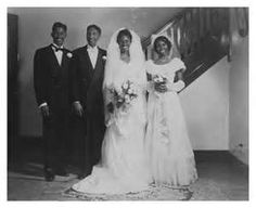 Bride and groom with best man and maid of honor in a traditional wedding portrait style. Detroit, MI, Walter Lawrence Smith Collection, Charles H. Wright Museum of African American History. Vintage Wedding Photos, Vintage Bridal, Vintage Weddings, Black Weddings, Wedding Pictures, Vintage Photos, Black People Weddings, Party Pictures, Party Photos