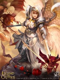 f Angel Paladin Plate Armor Dual Swords female Wings Legend of the Cryptids ArtStation by puppet wj lg Fantasy Warrior, Fantasy Girl, Chica Fantasy, Angel Warrior, Fantasy Women, Character Inspiration, Character Art, Character Design, Paladin