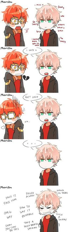 Mystic Messenger. Aww poor 707!!! But on a totally different not, HIS TEAL EYES ARR SO PRETTY!!!!