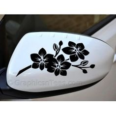 Corner Flowers Decal Decal Car Window Decal Sticker White - Flower custom vinyl decals for car