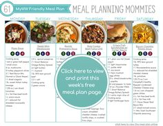 MyWW Friendly Meal Plan with Green, Blue, and Purple Points - Meal Planning Mommies Hearty Soup Recipes, Ww Recipes, Summer Recipes, Healthy Recipes, Weight Watchers Meal Plans, Weight Watchers Desserts, Homemade Tartar Sauce, Recipe Builder, Free Meal Plans