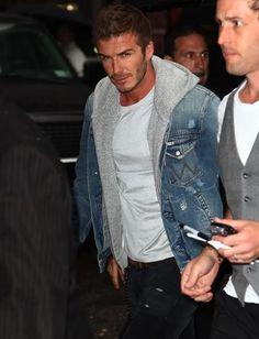 David Beckham in a Denim Jacket