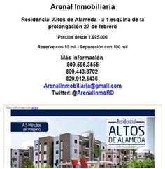 No pagues mas Alquiler  Arenal Inmobiliaria  Residencial Altos de Alameda - a 1 esquina de la prolongación 27 de febrero  Precios desde 1,995,000  Reserve con 10 mil - Separación con 100 mil  Más información  809.595.3555 809.443.8702  829.912.5436  Arenalinmobiliaria@gmail.com Twitter: @ArenalinmoRD