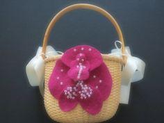 Flower Girl Basket Wedding Pink orchid choose your colors #flowergirlbasket by ArtisanFeltStudio on Etsy, $26.00
