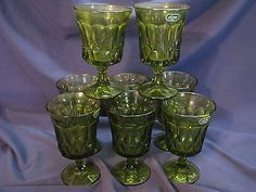8-NEW-NOS-Noritake-Perspective-GREEN-ICE-TEA-WATER-GOBLETS-Wine-Glasses-VTG