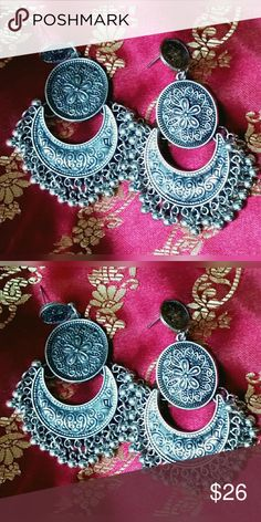 "NWT Bollywood Antique Paayal/Tassel Earrings Bollywood Brand new with tags NWT. These ethnic Indian Rajasthani earrings with ghungru/paayal (tassels) have intricate details. The tassel earrings are approximately 5"" length, and 3.5"" wide. The medallion in the middle is approx. 1"". Exquisite! globalboutique Jewelry Earrings"