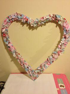 Rag heart wreath