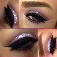 Glitter shadow with bold liner. Simple and statement-making.