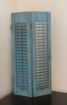 Vintage Wooden Louvered Beach Blue Shutters  by oZdOinGItagaiN, $38.00