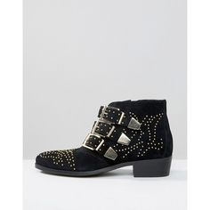 Office Alloy Stud Suede Ankle Boots (€83) via Polyvore featuring shoes, boots, ankle booties, low heel ankle boots, low heel booties, suede bootie, ankle boots y suede ankle bootie