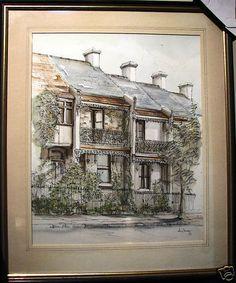 John Young original painting  Paddington Terraces  Sydney, Australian New South, Terraces, South Wales, Sydney, Vintage World Maps, Original Paintings, Australia, The Originals, Art