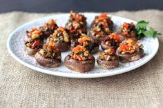 Vegan, Grain-Free Stuffed Mushrooms with Walnuts, Spinach and Sundried Tomatoes