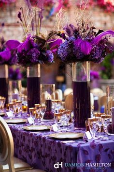 purple reception wedding flowers, wedding decor, purple wedding flower centerpiece, purple wedding flower arrangement, add pic source on comment and we will update it. Purple Wedding Tables, Wedding Colors, Wedding Flowers, Purple Table, Purple And Gold Wedding, Plum Wedding, Maroon Wedding, Black Table, Table Wedding