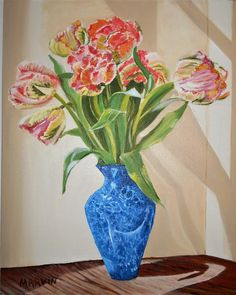 Original oil painting Tulips in a blue Vase 16 X 20 inches