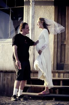 Tarentino and Thurman on the set of Kill Bill.